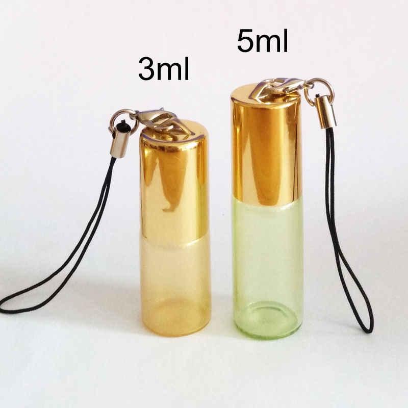 5 ชิ้น/แพ็ค 3 ml 5 ml แก้วม้วนน้ำหอมบนขวดลูกสแตนเลสสตีลและ Key Chain Roller ขวดน้ำมันหอมระเหย