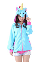 Animal Cosplay Costumes Blue Pink Purple Unicorn Hoodies Hoody Mens And Womens Jacket 3 Colors