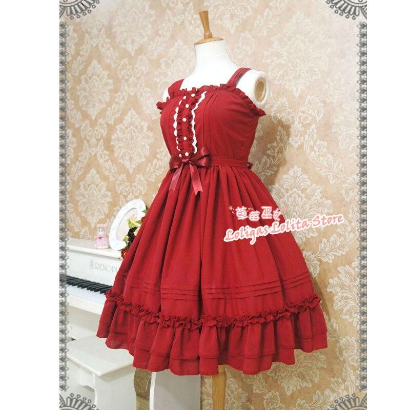 Robe Lolita classique sans manches en mousseline de soie robe mi-longue à volants doux