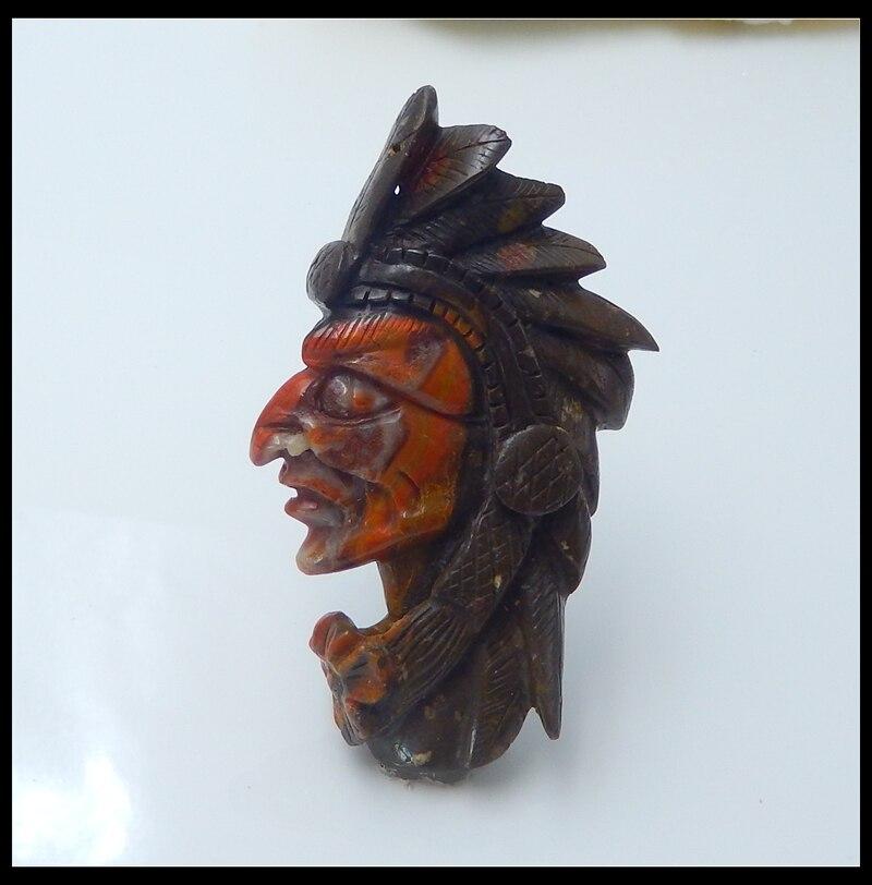 Vente en gros 1 pièces pierre naturelle guerre états Agate rouge sculpté à la main tête indienne mode Long pendentif bricolage fabrication de bijoux 38.2g