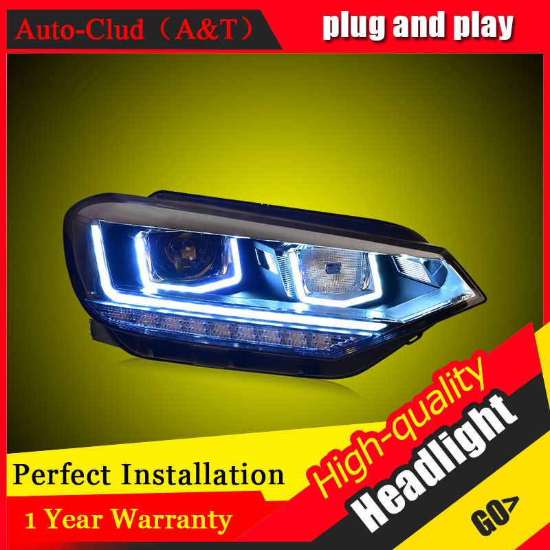 Auto Clud Car Styling For VW Touran headlights 2016 For Touran head lamp led DRL front Bi-Xenon Lens Double Beam HID KIT