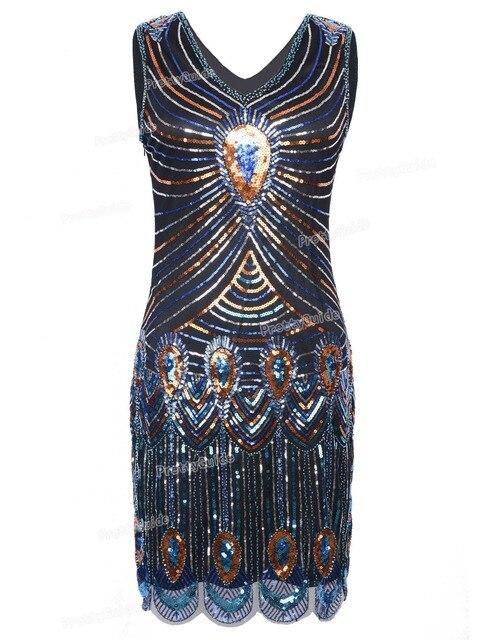 PrettyGuide женская 1920 s Sparkly Блесток Павлин Вдохновил Великий Гэтсби Хлопушки Платье Ревущие 20 s Платье