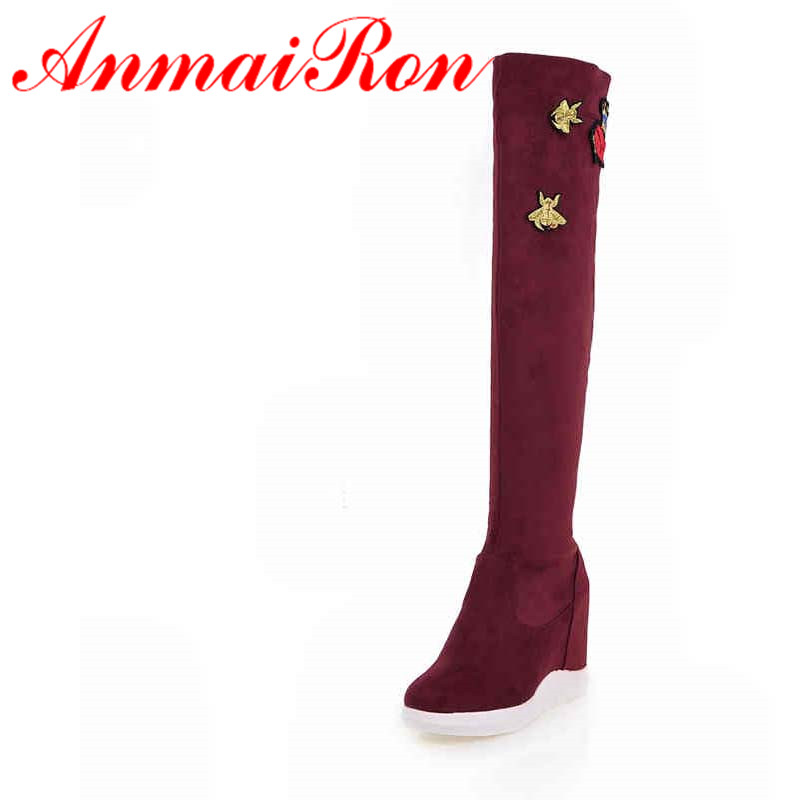 ANMAIRON Autumn/Winter High Heels Thigh High Boots Height Increasing Waterproof Platform Boots Women Over-the-Knee Embroider Bee