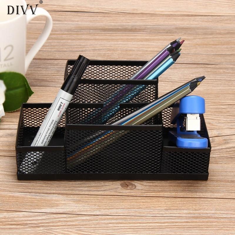 DIVV Mesh Pen Holder Metal Mesh Home Office Pen Pencils Holder Desk Stationery Storage Organizer Box 1PC