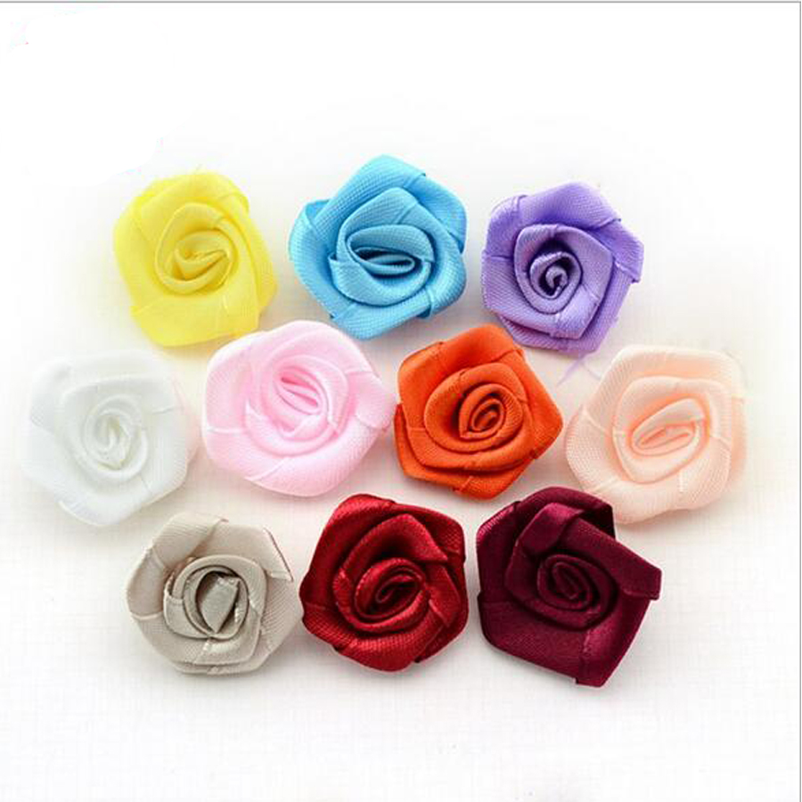 200pcslot Cheap Hand Made Dia 3cm Ribbon Rose Artificial Flower For