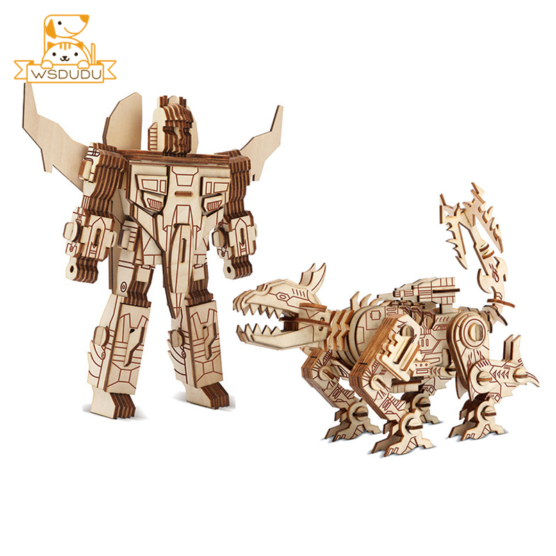 5Pcs Montessori Wooden Walnut Joint Robot Action Figure Kids Educational Toy