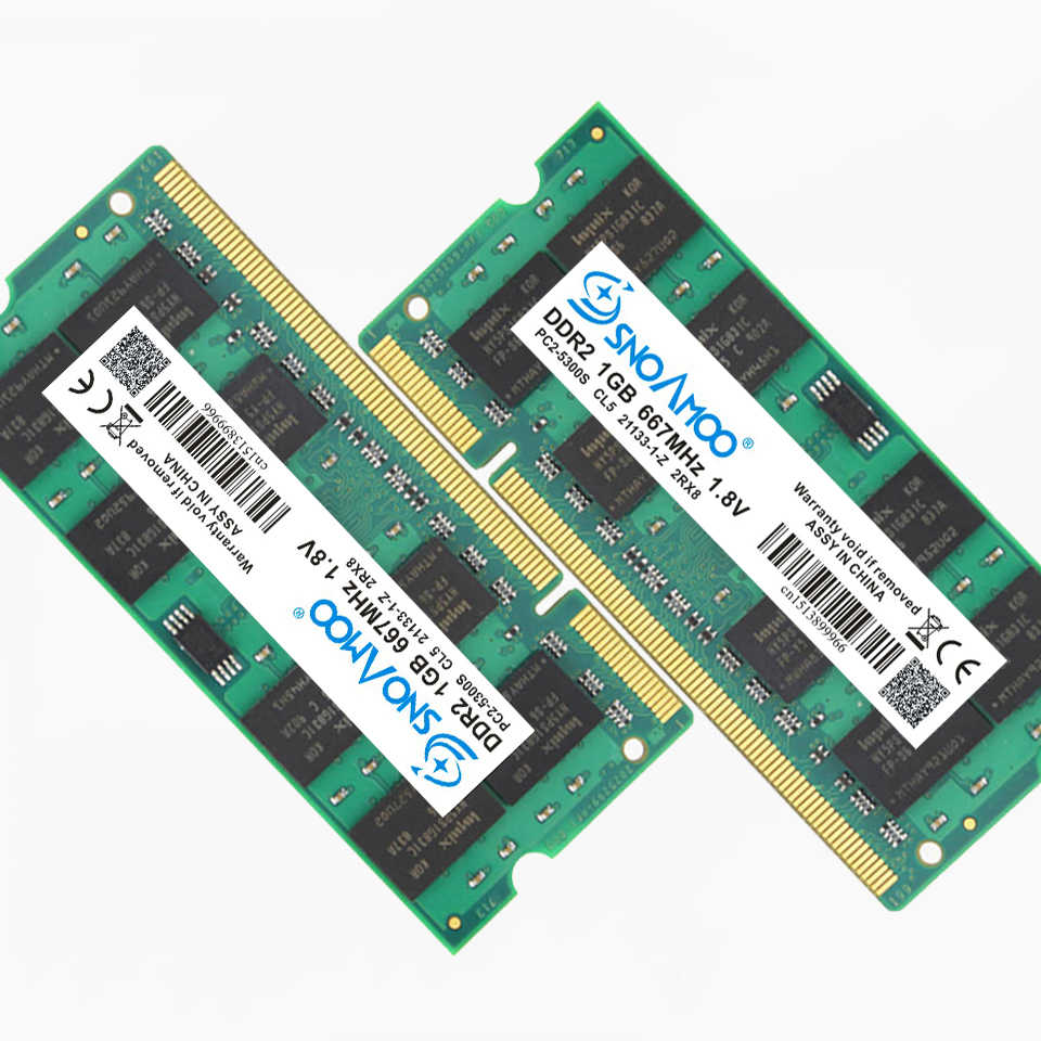 Ram ddr2 do portátil de snoamoo 1 gb 2 gb 4 667 mhz PC2-5300S 800 mhz PC2-6400S 200pin cl5 cl6 1.8 v 2rx8 SO-DIMM garantia da memória do computador
