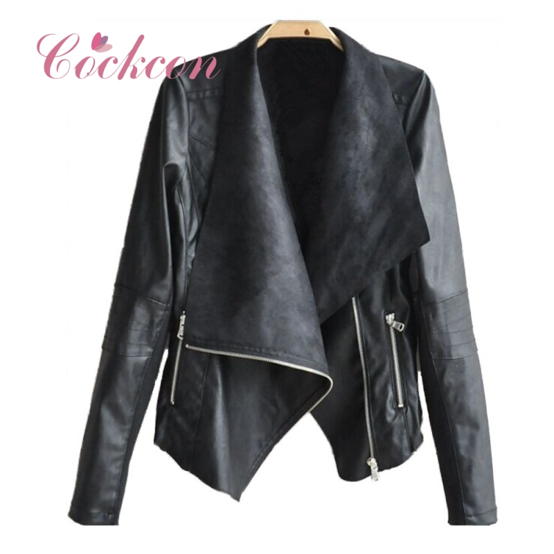 Faux   Leather   Coats Women Autunm Winter PU Black White Apricot High Fashion Street Outerwear Sexy Bomber Motorcycle PU Jackets F2