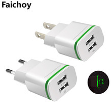Faichoy 2 USB Ports Adapter Mobile Phone Wall Charger Device