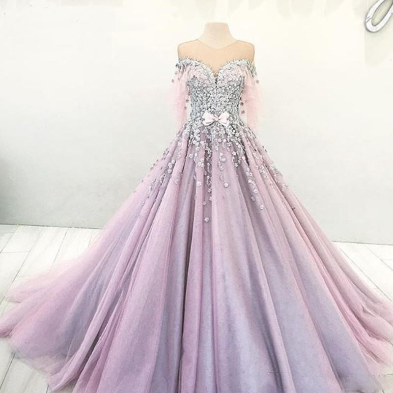 Romantic Dubai Princess Ball Gown Wedding Dresses Sheer Jewel Neck Bow Beaded Lace Applique Engagement Dress Light Purple Tulle