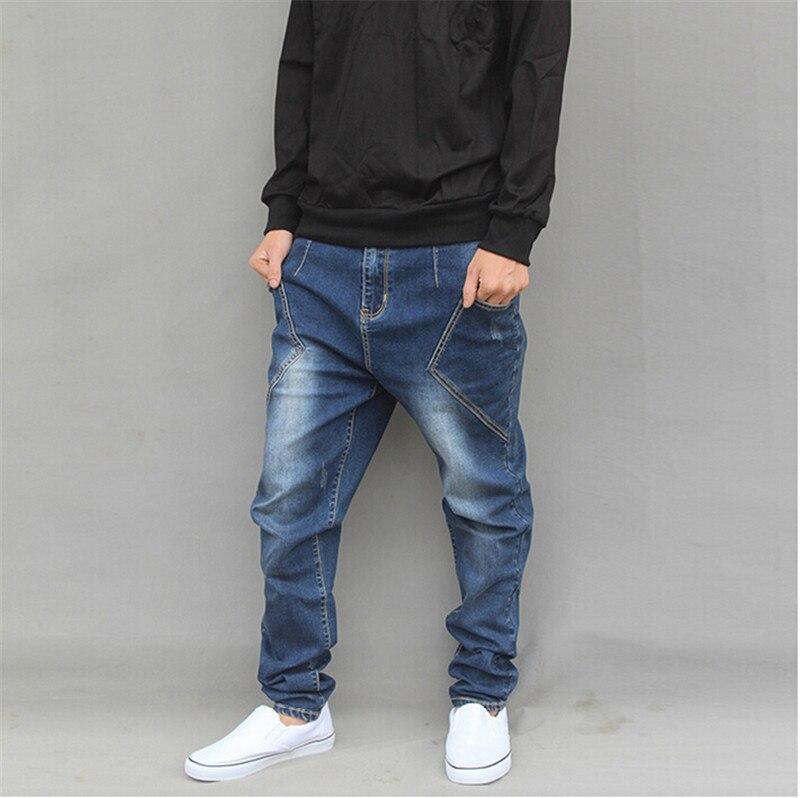 ФОТО New Fashion Cotton Brand Jeans Plus Size M-6XL Autumn Winter Mens Jeans Hip Hop Harem Loose Denim Pants For Boys