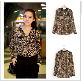 Leopard Print Shirt Long Sleeve V -Neck Women Tops Loose Chiffon Blouses Shirt