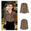 2015 mulheres blusa Leopard Print Camisa de manga comprida com decote em V Top blusas soltas Plus Size Chiffon Camisa Camisa Feminina roupas