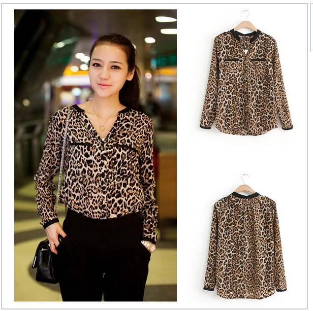 d5fffc62248 Blusas 2017 Women Blouse Leopard Print Shirt Long Sleeve V -Neck Women Tops  Loose Chiffon Blouses Shirt Camisa Feminina