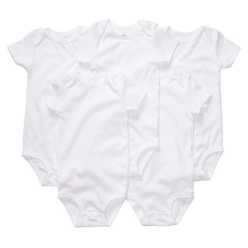 S5-006, מקורי, תינוקות בגד גוף סט, 5-Piece לחפיסה, לבן טהור, סגנון קלאסי, שרוול קצר, תחושה רכה, משלוח חינם