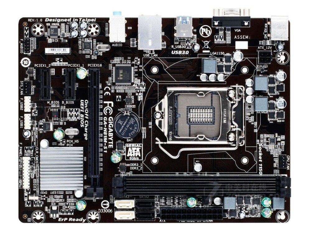 NEW,GIGABYTE GA H81M S1 Desktop Motherboard H81 LGA 1150 i3 i5 i7 DDR3 16G
