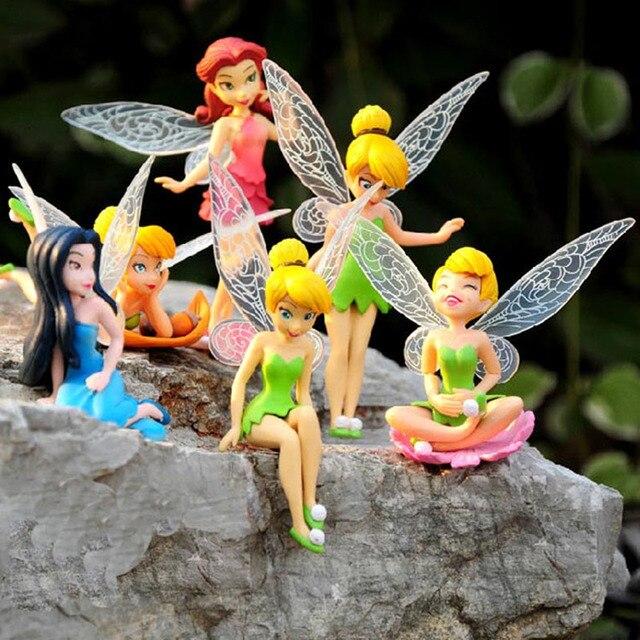 6 шт./компл. Рождественский Подарок Детям Tinkerbell Куклы Летающие Цветочная Фея Детская Анимация Мультфильм Toys Девушки Куклы Детские Игрушки RT016