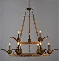 Винтаж античный металла веревка люстра светильник Лофт лампа Эдисона бар освещения счетчик лампы
