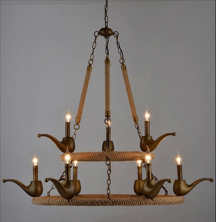 Vintage Antique Metal Rope Chandelier Lamp Loft edison bulb bar lighting counter lamps