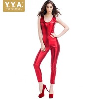 Free Shipping Nightclub DS Women Red Patent Leather Jumpsuit Erotic Sex Suit Tight Sleeveless Body Sexy Lingerie Bodysuit Stage