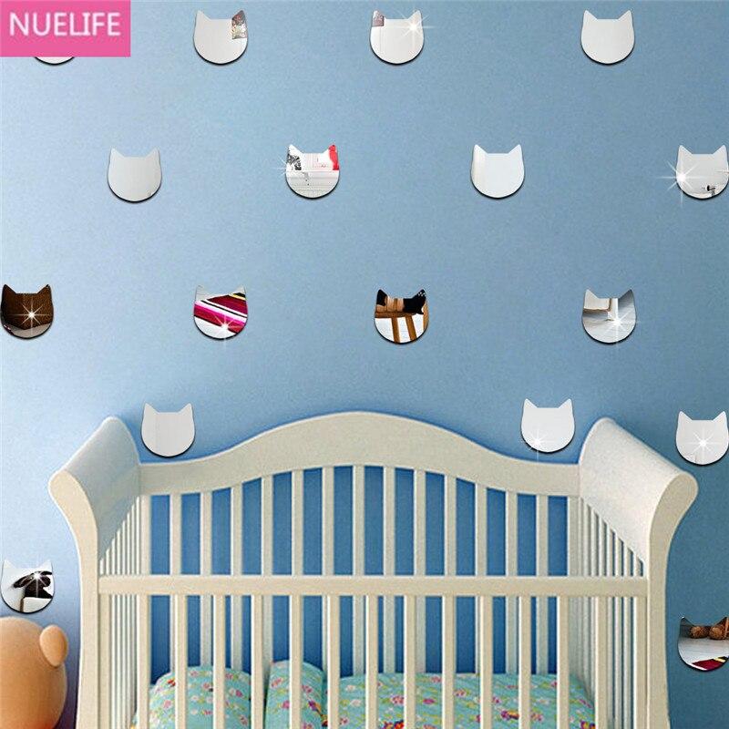 5 ensembles de dessin animé tête de chat motif miroir stickers muraux kidssalon chambre maternelle tv canapé décoration stickers muraux N4