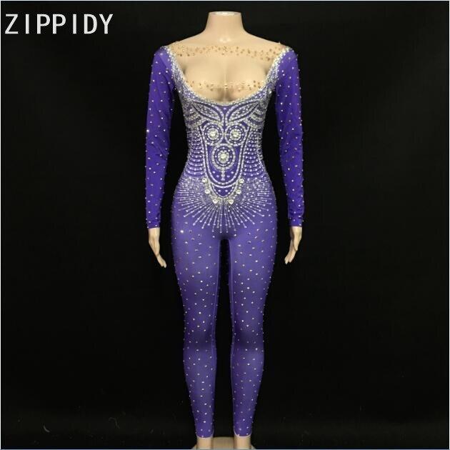 Clignotant or argent pierres Spandex combinaison anniversaire célébrer tenue discothèque Bar femme chanteur spectacle tenue violet body