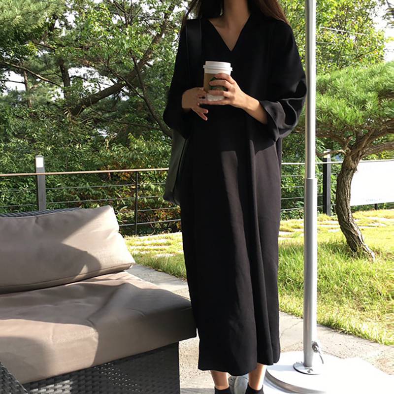 2018 Spring Summer V Neck Loose Plus Size Cotton Dresses Long Sleeve Female Maxi Vestidos Vintage Solid Straight Dress