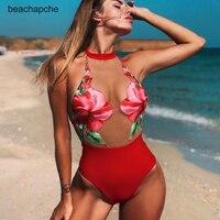 Sexy transparent mesh push up women bodysuit One piece floral print romper jumpsuit Summer beach wear playsuit bodysuit