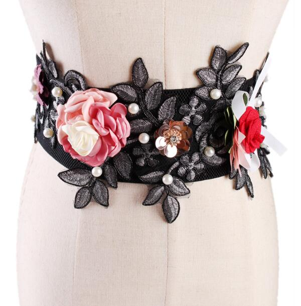 Women's Runway Fashion Pearl Flower Elastic Cummerbunds Female Dress Corsets Waistband Belts Bow Decoration Wide Belt R1001