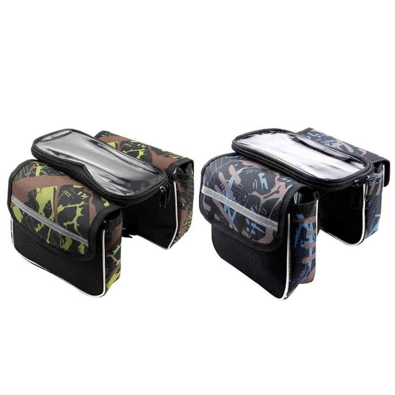 Practical Bicycle Bags Cycling Bike Front Frame Riding Bag Tube Pannier Double Pouch Phone Storage Bag Bicycle Accessories