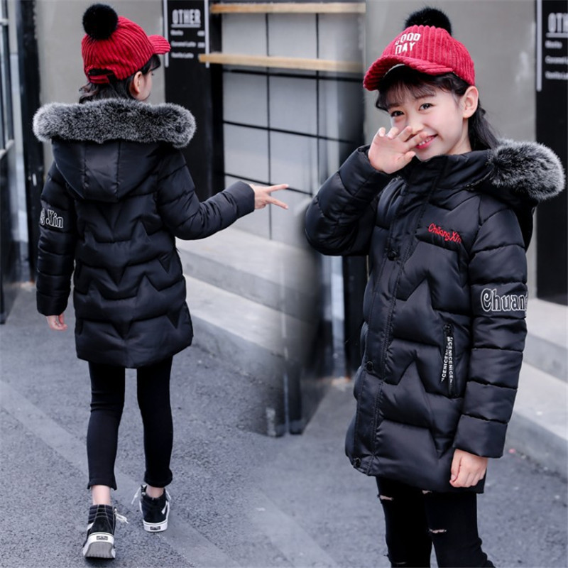 2018 3-10T Girls Winter Jacket Children's Parka Kids Parka Cotton-wadded Jackets Fashion Casual Hooded Letters Warm Outerwear long section men s solid cotton padded wadded jacket fashion clothes trench coat hooded jackets casual outerwear slim parka 3xl