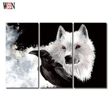 WEEN HD Printed Wolf and Crow Wall Pictures For Living Room 3 Piece Animal Canvas Artwork Cuadros Decoracion Poster No Frame(China)