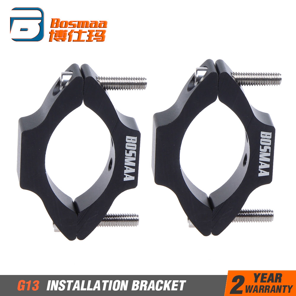 2sets BOSMAA G11/G13 Motorcycle Headlight Mounting Bracket Relocation Clamps Driving Hunting Light Holder For 22-54mm Tube Fork