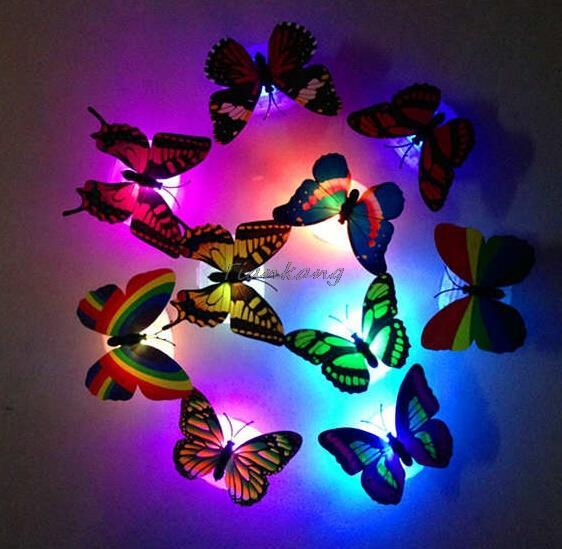 2PCS Flashing Colorful Butterfly Night Light Baby Bedside Lights Indoor Lighting Decorations Party Decor Christmas LED Night