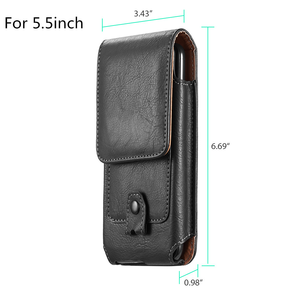 Universal Pouch Leather phone Case For iphone XS X 7 8 plus Waist Bag Magnetic holster Belt Clip phone cover for redmi 5 plus  (6)