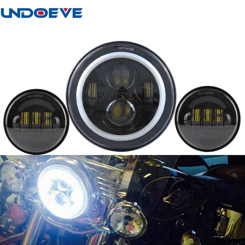 Undoeve Headlamp 7 Round H4 Hi/Low Beam Harley Daymaker LED Headlight+4-1/2 Passing Lamps 4.5 Fog Light for Harley