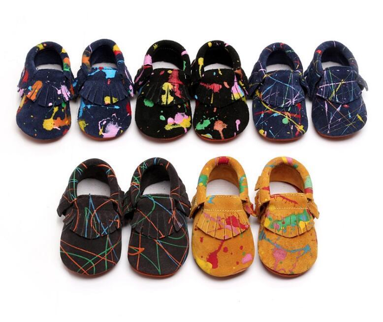 Uus Graffiti Suede Ehtne Nahk Mokasiinid Fringe kingad vastsündinud esimesed jalutajad pehme ainus beebi bebe kingad Nonslip