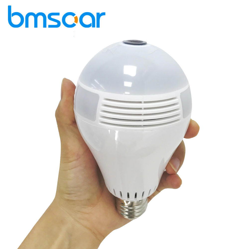 Bmsoar Fisheye 360 Degree Panoramic Bulb Light IP Camera 2MP 1080P HD Lamp VR Cam Two Way Audio Home Security CCTV ysa 1080p 960p 360 degree lamp bulb wireless ip cameras wi fi fisheye security cctv panoramic two way audio 2mp ir p2p light cam