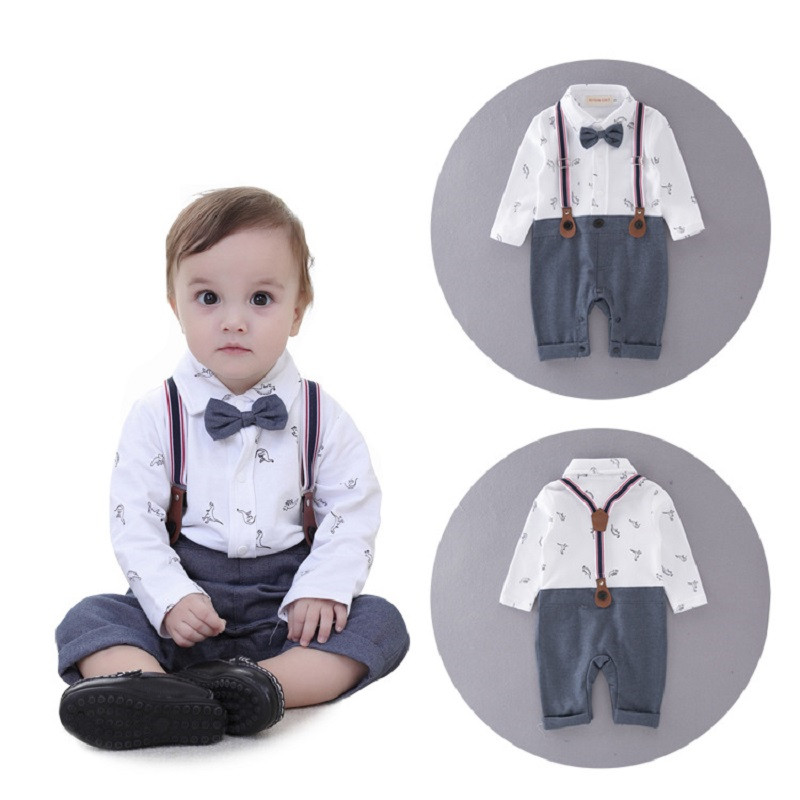 2017 baby clothes boy romper bow tie long sleeve infant gentleman romper toddler jumpsuits bebe rompers baby costume clothing 2017 nice boy baby infant formal gentleman baby boy clothes button necktie suit romper 0 24m long sleeve baby clothing sets