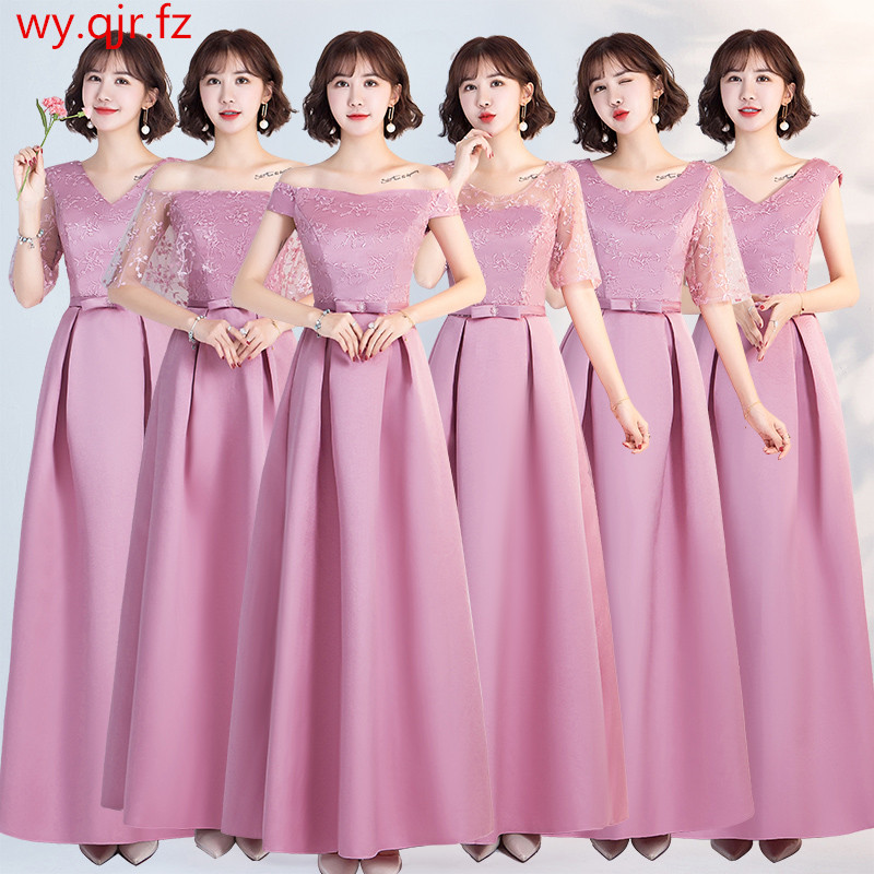 YWXN5559#Pale Mauve Long, Medium And Short V-neck Boat Neck Lace Up Bridesmaid Dresses 2019 New Wedding Party Dress Prom Gown