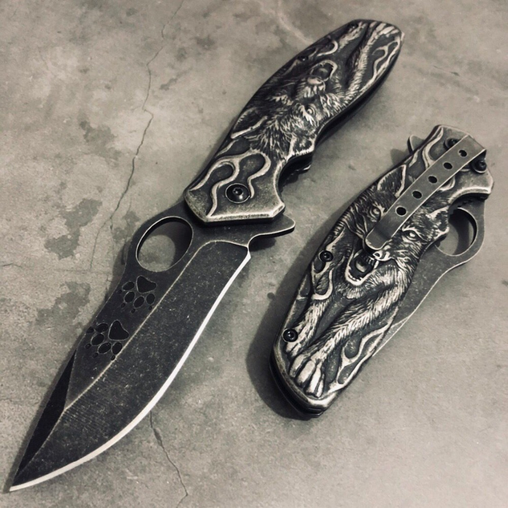 HOT!!Stonewash Tactical Rambo knife Survival Camping Hunting Knives STEEL Outdoor Pocket 3D Wolf king Folding Rescue knifes GiftHOT!!Stonewash Tactical Rambo knife Survival Camping Hunting Knives STEEL Outdoor Pocket 3D Wolf king Folding Rescue knifes Gift