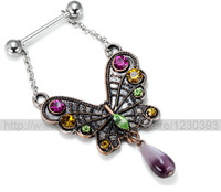 2015 Real Nipple Rings Antique Nipple Ring Zircon Colorful Butterfly 14g 5 8 Chain Body Jewelry