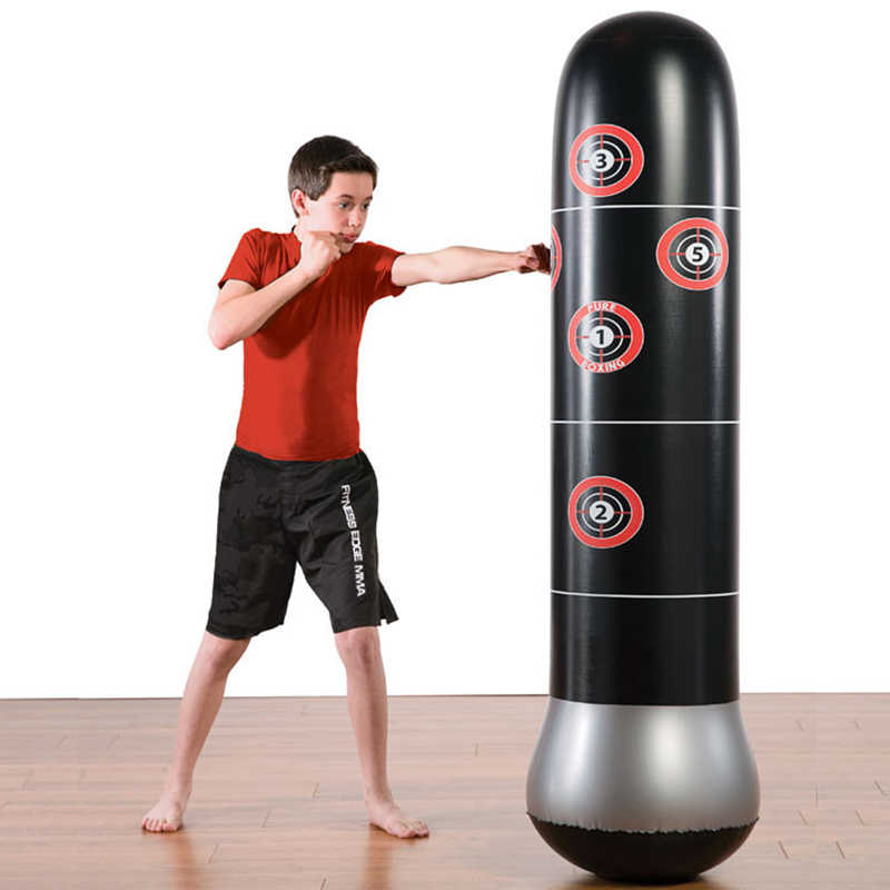 Whole Portable Kids Men Women 1 6m Inflatable Tumbler Kickboxing Punching Bag Sand Bags Stand Home Gym Fitness Equipment