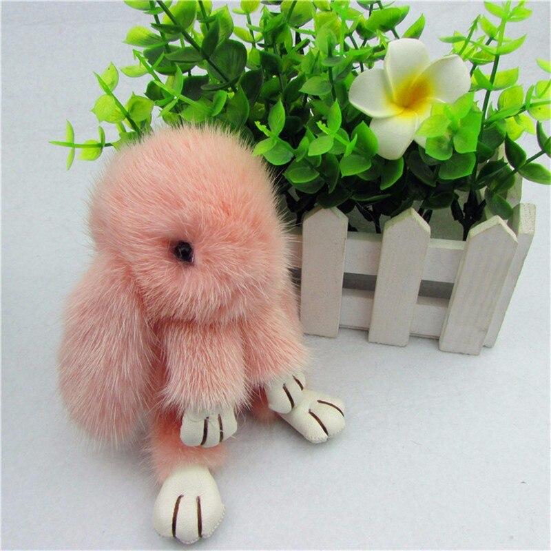 Genuine Real Import Mink fur keychain Cute Rabbit Doll Key Chain Charm Golf Bag Pendant Car Pendant