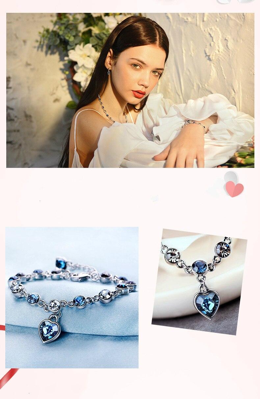 925 Sterling Silver Sapphire Bracelet For Women Romantic Heart-shaped Blue jewelry pulseira feminina kehribar bizuteria Bracelet