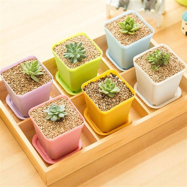 Gardening Mini Plastic Flower Pots+Plastic Tray Vase Square Flower Bonsai Planter Nursery Pots 7 Color Garden Supplies V4604