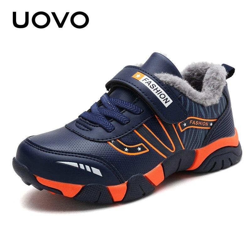 Warme Kinder Schuhe Winter Turnschuhe Plüsch Futter Mode Casual Schuhe Bequem Haken Und Schleife Jungen Schuhe Mit Eur #28 -39