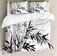 Bamboo Duvet Cover Set Bamboo Tree Illustration Traditional Chinese Calligraphy Style Asian Culture 4 Piece Bedding Set