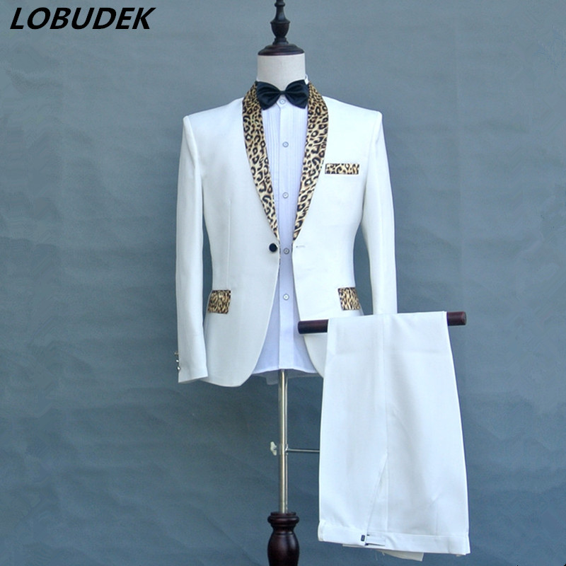 (Jacket+Pants+Tie) Black White Leopard Collar Male Go well with Host Promenade Formal Stage Costumes Males's Singer Refrain Efficiency Garments