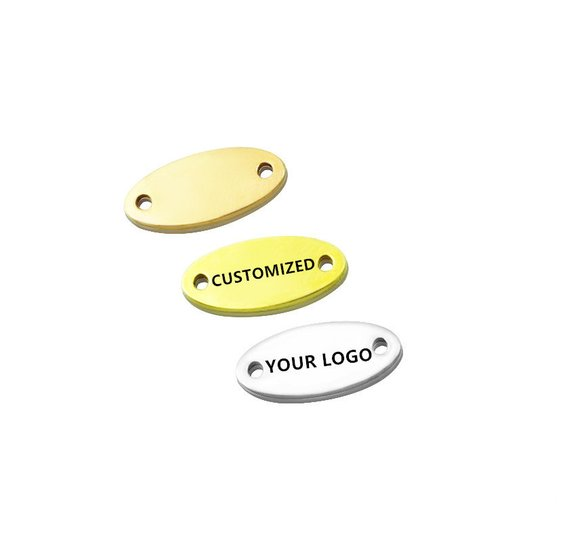 MYLONGINGCHARM 50 Pcs Customized Clothing Labels-14mmx6mm Engravable Connecters In Mini Size-custom Your Logo Or Design-oval Tag